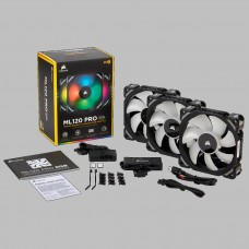 Corsair ML120 PRO RGB LED 120mm Magnetic Levitation Fan - 3 Pack with Lighting Node PRO